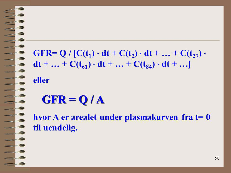 GFR= Q / [C(t1) · dt + C(t2) · dt + … + C(t27) · dt + … + C(t61) · dt + … + C(t84) · dt + …]